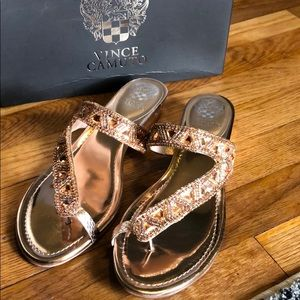 Vince Camuto Rose Gold Beaded Sandals 10